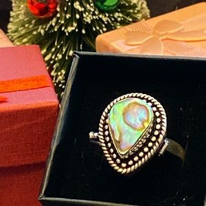 Abalone shell locket  ring size 7